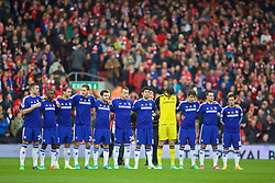 LIVERPOOL, ENGLAND - Saturday, November 8, 2014: Chelsea players stand to remember the victims of the two World Wars before the Premier League match against Liverpool at Anfield. (Pic by David Rawcliffe/Propaganda)
