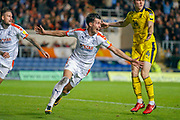 Luton Town defender Dan Potts (3) thinks he has scored but the goal is disallowed. Moments later he does score the winner during the EFL Sky Bet League 1 match between Oxford United and Luton Town at the Kassam Stadium, Oxford, England on 2 October 2018.