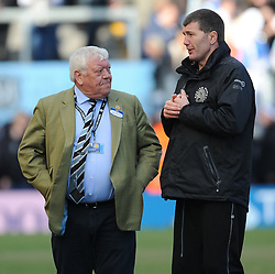 Tony Rowe OBE Chiefs Executive of Exeter Chiefs talks to Rob Baxter head coach of Exeter Chiefs.  - Mandatory by-line: Alex Davidson/JMP - 02/04/2016 - RUGBY - Sandy Park Stadium - Exeter, England - Exeter Chiefs v Worcester Warriors - Aviva Premiership