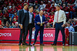 NORMAL, IL - November 06: Bruins Assistant Coaching staff  Mick Hedgepeth, Tyler Holloway, Casey Alexander and Brian Ayers during a college basketball game between the ISU Redbirds and the Belmont Bruins on November 06 2019 at Redbird Arena in Normal, IL. (Photo by Alan Look)