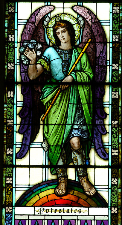 The angel Potestates is depicted in a stained glass window at Our Lady of the Lake Church in Ashland.