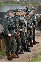Members of the Northern World War Two Association portraying German soldier of world war two parade in the Axis living history camp. Scarborough Castle Saturday 29th May 2010 .Images © Paul David Drabble.