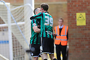 Donal McDermott congratulates goalscorer Joe Bunney 0-1 during the Sky Bet League 1 match between Peterborough United and Rochdale at London Road, Peterborough, England on 9 April 2016. Photo by Daniel Youngs.