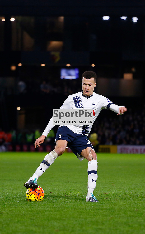 Dele Alli during Watford v Tottenham, Barclays Premier League, Monday 28th December 2015, Vicarage Road, Watford