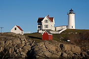 Cape Neddick Lighthouse in York, Maine shortly before sunset on November 18, 2007