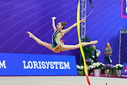Salos Anastasiia during final at ribbon in Pesaro World Cup at Adriatic Arena on April 15, 2015. Anastasiia born on February 18 ,2002 in Barnaul. She is a rhythmic gymnast member of the Belarusian National Team.