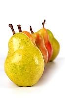 Studio shot of pears in row