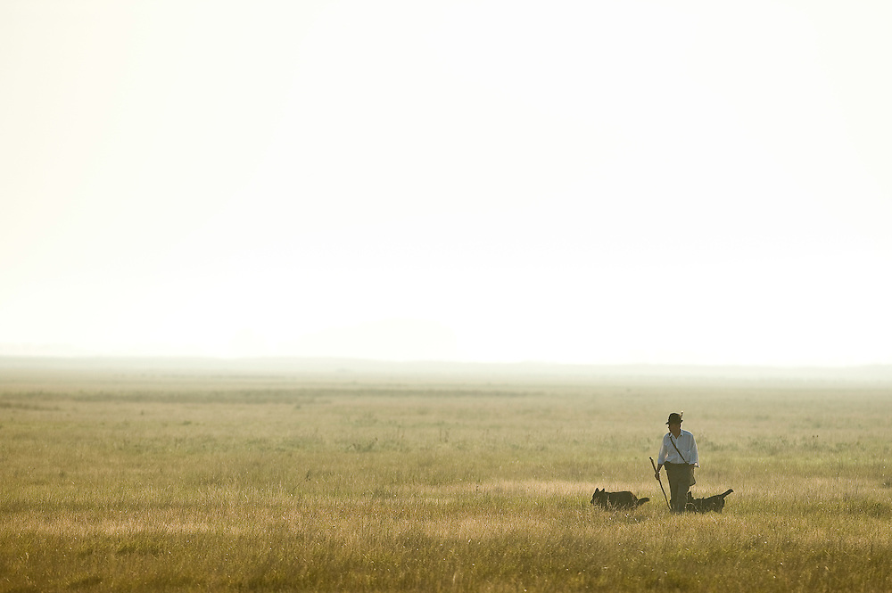 Herdsman with his dogs, Hortobagy National Park, Hungary