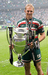 Lewis Moody celebrates with the Guinness Trophy.The Guinness Premiership final 2010 between Leicester Tigers and Saracens at Twickenham Stadium, London, England. May 29th, 2010. .