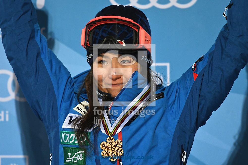 Ayana Onozuka (JPN) celebrates after winning the gold medal following the Women's Half Pipe Final on Day Eleven of the FIS Freestyle Ski &amp; Snowboard World Championships 2017 at Sierra Nevada Ski Station, Granada<br /> Picture by Kristian Kane/Focus Images Ltd +44 7814 482222<br /> 18/03/2017