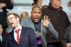 LIVERPOOL, ENGLAND - Saturday, November 8, 2014: Former Liverpool player John Barnes in the crowd to watch the Reds take on Chelsea during the Premier League match at Anfield. (Pic by David Rawcliffe/Propaganda)