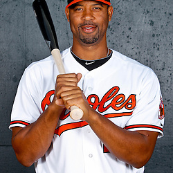 February 26, 2011; Sarasota, FL, USA; Baltimore Orioles first baseman Derrek Lee (25) poses during photo day at Ed Smith Stadium.  Mandatory Credit: Derick E. Hingle