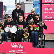 Simon Lawson,David Weir and JohnBoy Smith, Winner of the wheelchairs at The Vitality Big Half 2019 on 10 March 2019, London, UK.