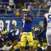 Delaware Quarterback BLAKE RANKIN (7) directs players at the line of scrimmage during a week one game between the Delaware Blue Hens and the Delaware State Hornets, Thursday, Sept. 01, 2016 at Tubby Raymond Field at Delaware Stadium in Newark, DE.