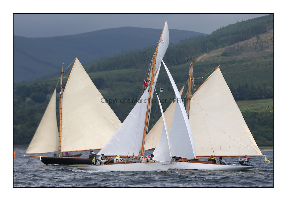 The final day of racing of the Fife Regatta on the King's Course North of Great Cumbrae<br /> <br /> Tringa, G&amp;H Scharbaum, GER, Gaff Sloop, Wm Fife 3rd, 2010,<br /> Fiona, Didier Cotton, FRA, Gaff Cutter, Wm Fife 3rd, 2005,<br /> Oblio, Gordon Turner, GBR, Gaff Cutter, Wm Fife 3rd, 2007<br /> <br /> <br /> * The William Fife designed Yachts return to the birthplace of these historic yachts, the Scotland&rsquo;s pre-eminent yacht designer and builder for the 4th Fife Regatta on the Clyde 28th June&ndash;5th July 2013<br /> <br /> More information is available on the website: www.fiferegatta.com