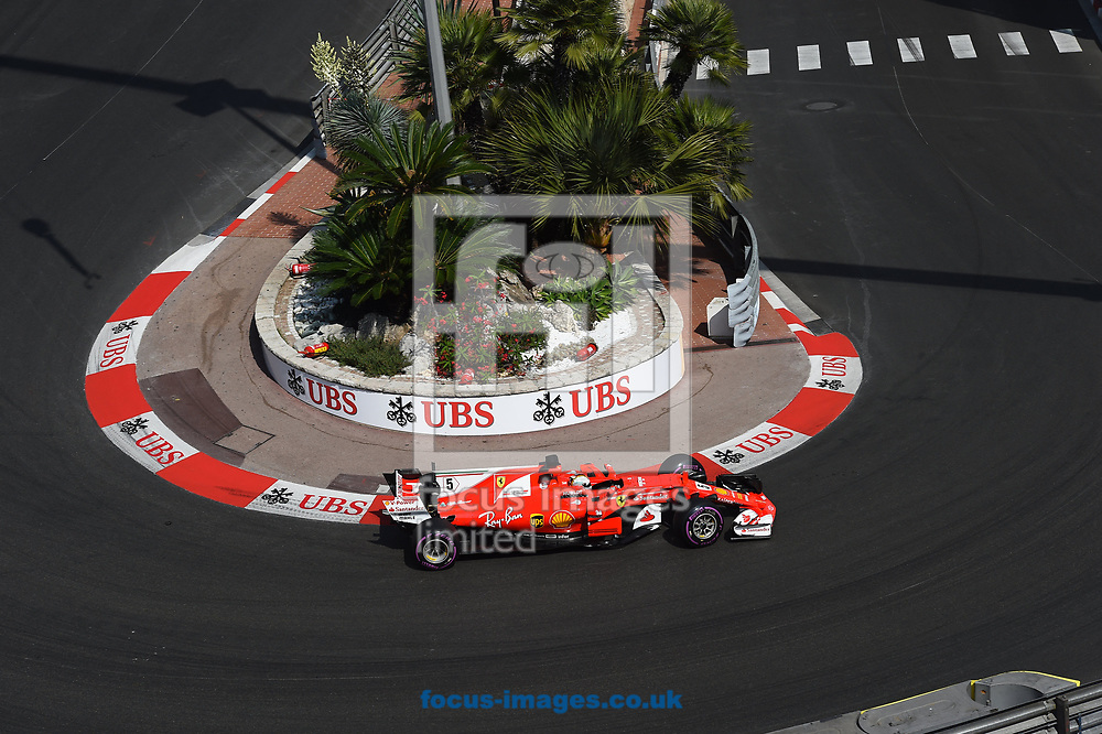 Sebastian Vettel of Scuderia Ferrari  during the practice session for the 2017 Monaco Formula One Grand Prix at the Circuit de Monaco, Monte Carlo<br /> Picture by EXPA Pictures/Focus Images Ltd 07814482222<br /> 25/05/2017<br /> *** UK &amp; IRELAND ONLY ***<br /> <br /> EXPA-EIB-170525-0157.jpg