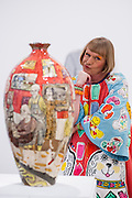 "Artist Grayson Perry RA poses for photographs called ""Bad Portraits of Establishment Figures I ,2012 valued between £50,000- 70,000  at the Royal Academy of Arts in London on October 2nd 2012..."