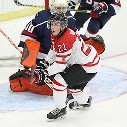 COBOURG, - Dec 15, 2015 -  Game #5 - Canada West vs the United States at the 2015 World Junior A Challenge at the Cobourg Community Centre, ON. Joseph Nardi #21 of Team Canada West just misses a goal during the first period.(Photo: Tim Bates / OJHL Images)