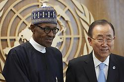September 21, 2016 - New York, New York, United States - United Nations Headquarters, New York. President Muhammadu Buhari of Nigeria  greets Secretary General Ban Ki-moon. (Credit Image: © Mark Joseph Sullivan/Pacific Press via ZUMA Wire)