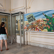 A painting of Fidel Castro telling Batista to flee. Museum of the Revolution, Havana's most famous museum is located in the former presidential palace of the 1950's dictator Fulgencio Batista. Following the 1959 Revolution, it was converted into a museum celebrating the Cuban Revolution. Photography by Jose More