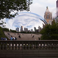 Chicago Cloud Gate sculpture known as The Bean because of its shape. Could gate is located in Millenium Park in Chicago's downtown loop area and is a very popular attraction for tourists.