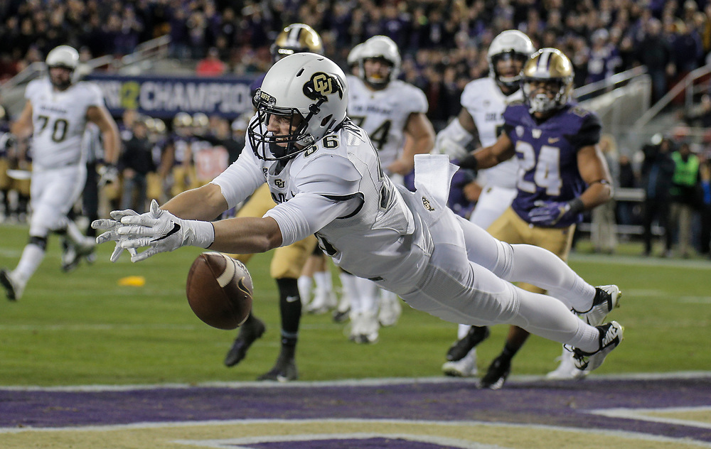 Dec 02, 2016  Santa Clara, CA : Colorado tight end Dylan Keeney #86 in the back of the endzone just off his finger tips during the NCAA Pac 12 Championship Football game between Washington Huskies and Colorado Buffaloes 41-10 lost at Levi Stadium Santa Clara Calif. Thurman James / CSM