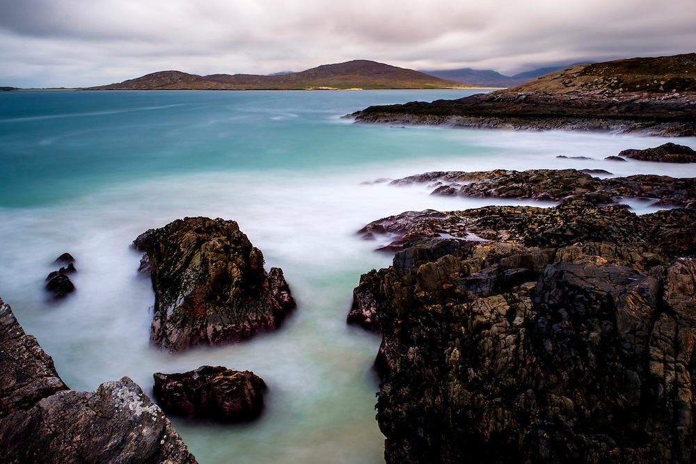 LEWIS AND HARRIS, SCOTLAND - CIRCA APRIL 2016: Cliffs and beaches on the outer islands of Lewis and Harris in Scotland.