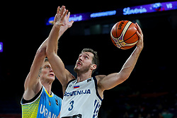 Artem Pustovyi of Ukraine vs Goran Dragic of Slovenia during basketball match between National Teams of Germany and France at Day 10 in Round of 16 of the FIBA EuroBasket 2017 at Sinan Erdem Dome in Istanbul, Turkey on September 9, 2017. Photo by Vid Ponikvar / Sportida