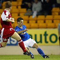 St Johnstone v Brechin....26.08.03 Bells Challenge Cup<br />Ross Forsyth fires in a late consolation goal for St Johnstone<br /><br />Picture by Graeme Hart.<br />Copyright Perthshire Picture Agency<br />Tel: 01738 623350  Mobile: 07990 594431