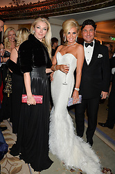 Left to right, TAMARA BECKWITH, CLAIRE CAUDWELL and GIORGIO VERONI at a birthday dinner for Claire Caudwell for family & friends held at The Dorchester, Park Lane, London on 24th January 2014.