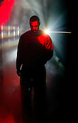 The Blazers' Brandon Roy (7) is bathed in colored lights and smoke as he emerges from the tunnel to the court for playoff action. The Blazers beat the Rockets 88-77....