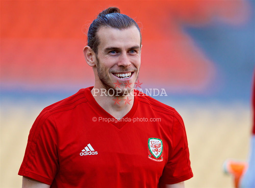 NANNING, CHINA - Tuesday, March 20, 2018: Wales' Gareth Bale during a training session at the Guangxi Sports Centre ahead of the opening 2018 Gree China Cup International Football Championship match against China. (Pic by David Rawcliffe/Propaganda)