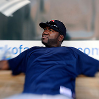 29 June 2009:  Boston Red Sox designated hitter David Ortiz (34) relaxes in the dugout prior to the game against the Baltimore Orioles at Camden Yards in Baltimore, MD.  The Red Sox defeated the Orioles 4-0.  ****For Editorial Use Only****