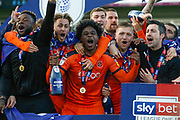 CHAMPIONS Luton Town players and coaching staff celebrate, Luton Town midfielder Pelly Ruddock (17), after winning the league title after the EFL Sky Bet League 1 match between Luton Town and Oxford United at Kenilworth Road, Luton, England on 4 May 2019.