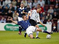 Photo Aidan Ellis.<br />Scotland v New Zealand (intl friendly at Tynecastle)<br />27/05/2003.<br />Scotland's Paul devlin and Kiwi Mark Burton