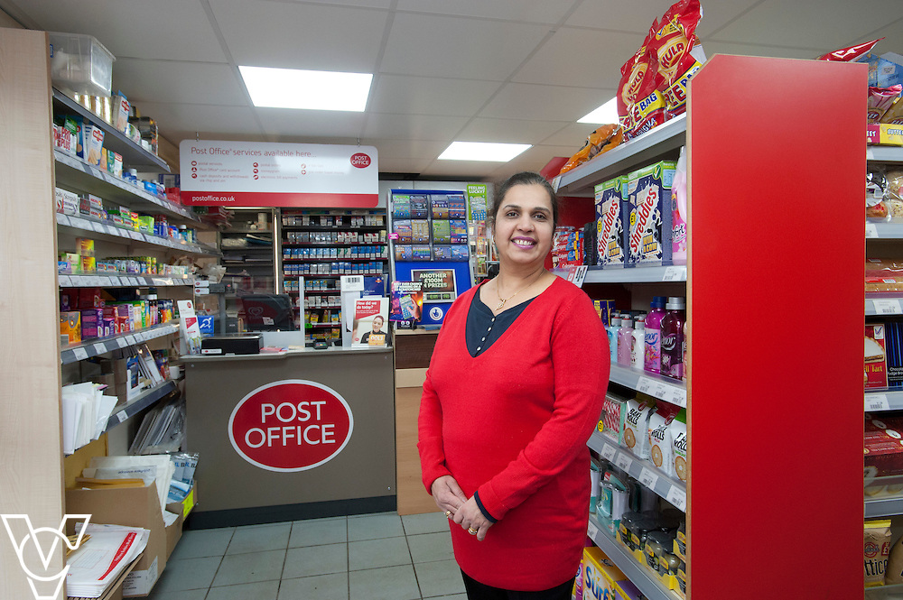 Pictured postmaster Kanchan Lakhman<br /> <br /> Thringstone Post Office, 19-23 Loughborough Road, Thringstone, Leicestershire.<br /> Date: January 23, 2015