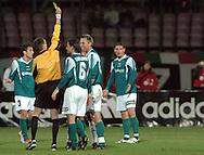 n/z.: sedzia Krzysztof Slupik (ZPN Tarnow) , zolta kartka , Radoslaw Sobolewski (nr6-Groclin) , Igor Koziol (nr15-Groclin) , Legia Warszawa (biale) - Groclin Grodzisk Wielkopolski (zielone) 0:1 , I liga polska , 9 kolejka sezon 2004/2005 , pilka nozna , Polska , Warszawa , 16-10-2004 , fot.: Adam Nurkiewicz / mediasport.pl..refree Krzysztof Slupik (ZPN Tarnow) , yellow card , Radoslaw Sobolewski (nr6-Groclin) , Igor Koziol (nr15-Groclin)  during Polish league first division soccer match in Warsaw. October 16, 2004 ; Legia Warszawa (white) - Groclin Grodzisk Wielkopolski (green) 0:1 ; first division , 9 round season 2004/2005 , football , Poland , Warsaw ( Photo by Adam Nurkiewicz / mediasport.pl )