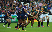 South Africa's Schalk Burger tackling USA Oli Kilifi during the Rugby World Cup Pool B match between South Africa and USA at the Queen Elizabeth II Olympic Park, London, United Kingdom on 7 October 2015. Photo by Matthew Redman.