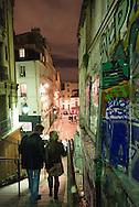 France. Paris 18th; people on Montmartre stairs, Rue drevet at night / Rue Drevet, les excaliers de Montmartre la nuit