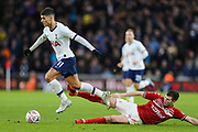 Tottenham Hotspur midfielder Erik Lamela (11) escapes a challenge from Middlesbrough midfielder Paddy McNair (17)  during the The FA Cup match between Middlesbrough and Tottenham Hotspur at the Riverside Stadium, Middlesbrough, England on 5 January 2020.