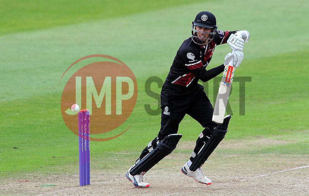 Somerset's Tom Cooper flicks the ball - Photo mandatory by-line: Harry Trump/JMP - Mobile: 07966 386802 - 29/07/15 - SPORT - CRICKET - Somerset v Durham - Royal London One Day Cup - The County Ground, Taunton, England.