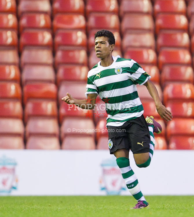 LIVERPOOL, ENGLAND - Wednesday, August 17, 2011: Sporting Clube de Portugal's Farley Rosa celebrates scoring the third goal against Liverpoolc during the first NextGen Series Group 2 match at Anfield. (Pic by David Rawcliffe/Propaganda)