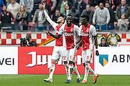 02-10-2016: Voetbal: Ajax v FC Utrecht: Amsterdam<br /> <br /> (L-R) Ajax speler Hakim Ziyech heeft zojuist gescoord tijdens het Eredivsie duel tussen Ajax en FC Utrecht op 2 oktober 2016 in stadion Arena in Amsterdam tijdens speelronde 8<br /> <br /> Eredivisie - Seizoen 2016 / 2017<br /> <br /> Foto: Gertjan Kooij