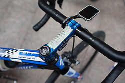 The course profile reminder is taped on Hayley Simmonds' (GBR) bike before the Durango-Durango Emakumeen Saria - a 113 km road race, starting and finishing in Durango on May 16, 2017, in the Basque Country, Spain.