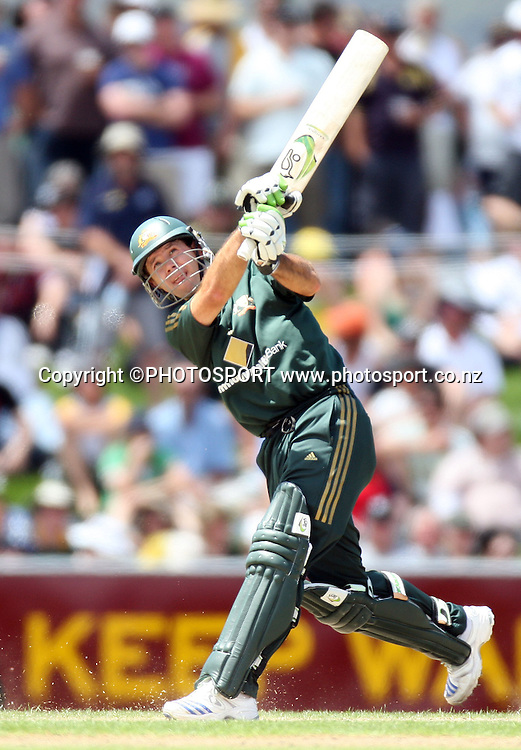 Australian captain Ricky Ponting hits out during his century innings.  Chappell Hadlee Trophy - Match 3. Bellerive Oval, Hobart, Australia. <br />