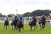AQUARIUM (9) ridden by Franny Norton and trained by Mark Johnston winning The Download The Coral App Handicap Stakes over 1m 2f (£35,000) during the October Finale meeting at York Racecourse, York, United Kingdom on 13 October 2018. Pic Mick Atkins
