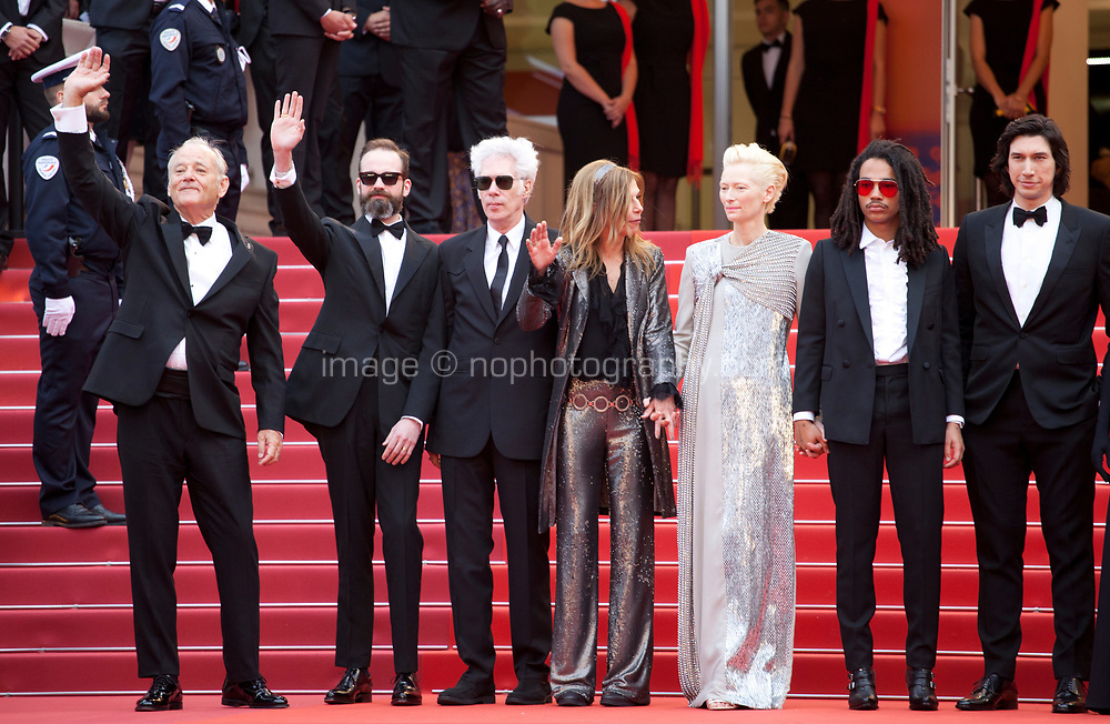 Bill Murray, Carter Logan, Tilda Swinton, Director Jim Jarmusch, Sara Driver,  Luka Sabbat, Adam Driver at the Opening Ceremony and The Dead Don't Die gala screening at the 72nd Cannes Film Festival Tuesday 14th May 2019, Cannes, France. Photo credit: Doreen Kennedy