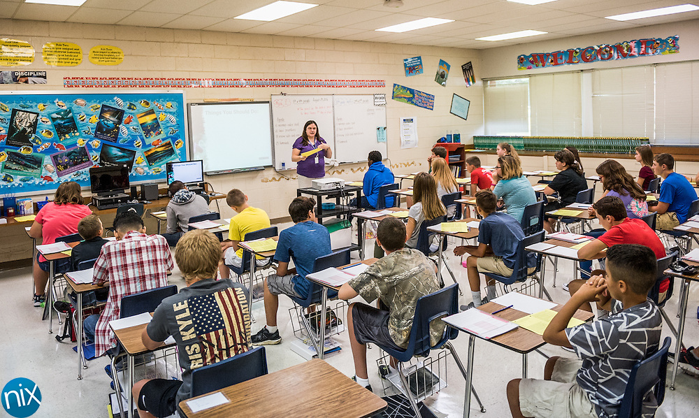 The first day of school at Mount Pleasant Middle School.