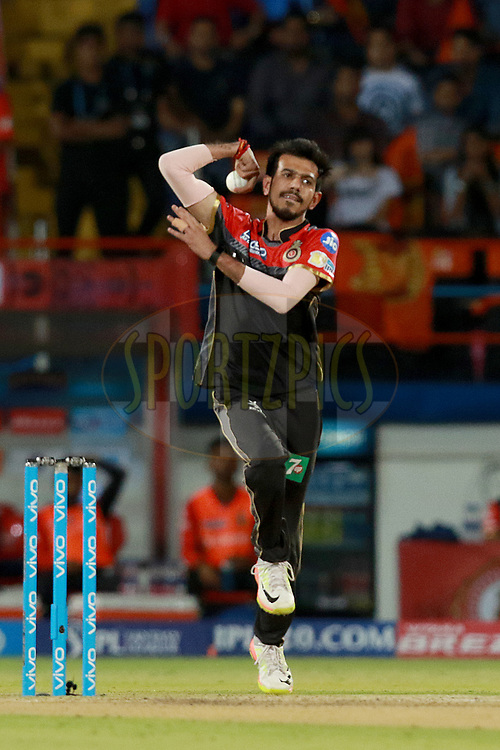 Yuzvendra Chahal of RCB bowls  during match 20 of the Vivo 2017 Indian Premier League between the Gujarat Lions and the Royal Challengers Bangalore  held at the Saurashtra Cricket Association Stadium in Rajkot, India on the 18th April 2017<br /> <br /> Photo by Rahul Gulati - Sportzpics - IPL