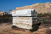 Sarcophagi - coffin made of stone, Caesarea, Israel